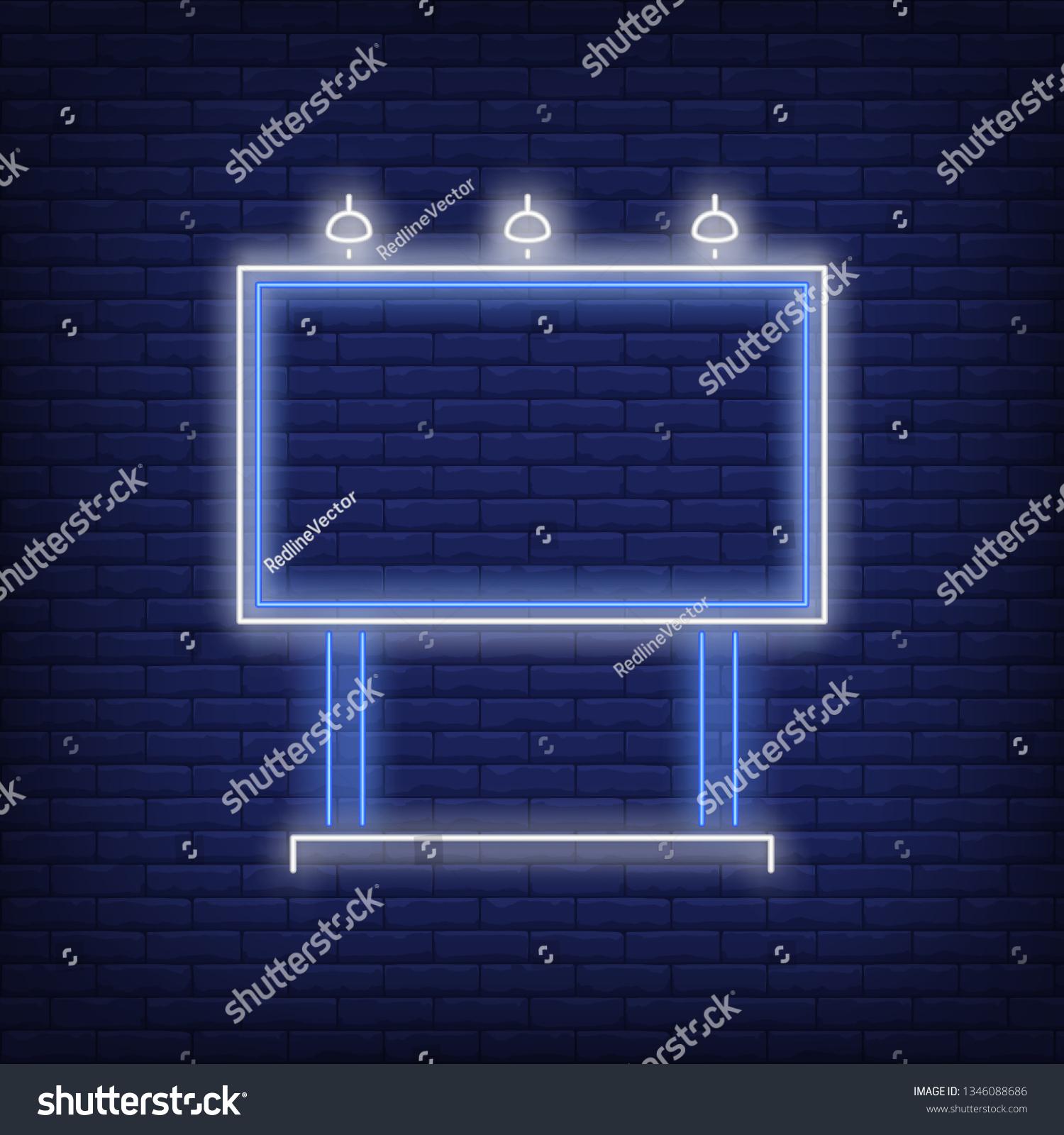 hight resolution of blue billboard neon sign glowing neon advertising billboard on brick wall background vector illustration