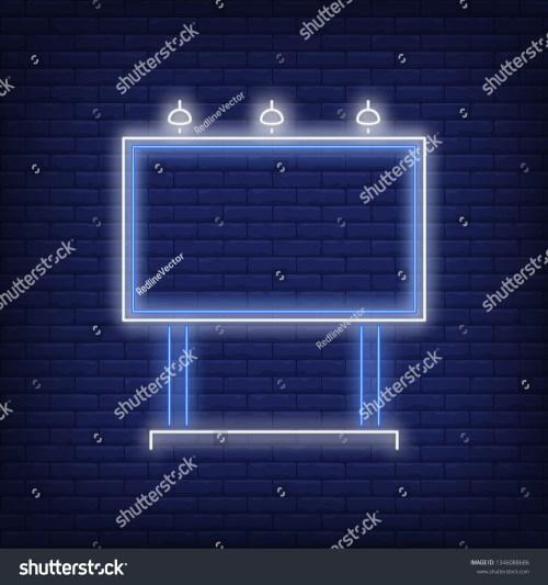 small resolution of blue billboard neon sign glowing neon advertising billboard on brick wall background vector illustration