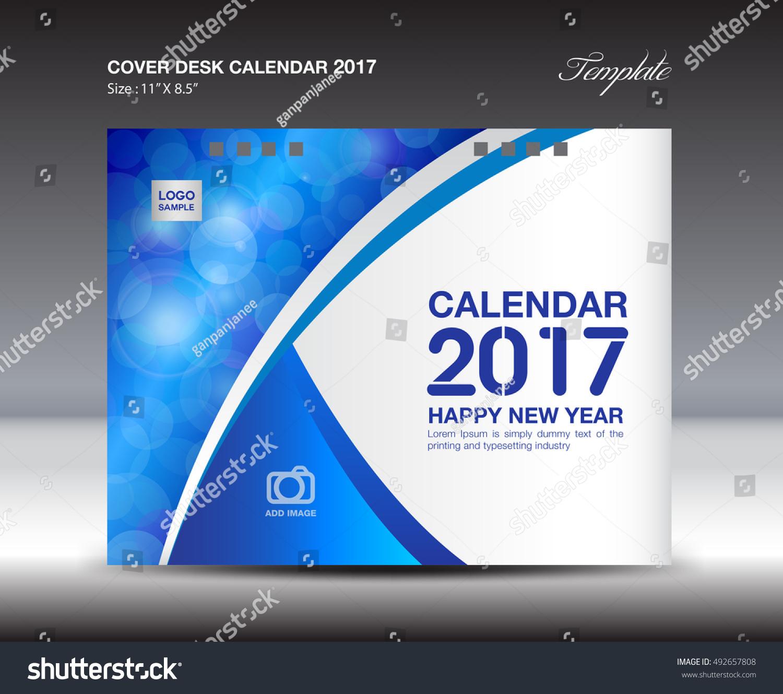 Blue Cover Desk Calendar For 2017 Year, Annual Report, Book Idea, Booklet,