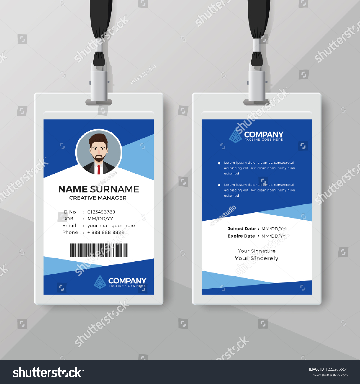 They promote worker accountability, reinforce your brand and are especially helpful for customer service purposes. Blue Employee Id Card Design Template Stock Vector Royalty Free 1222265554