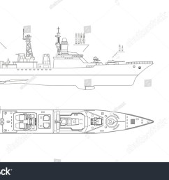 blueprint of military ship top front and side view battleship model industrial  [ 1500 x 1000 Pixel ]
