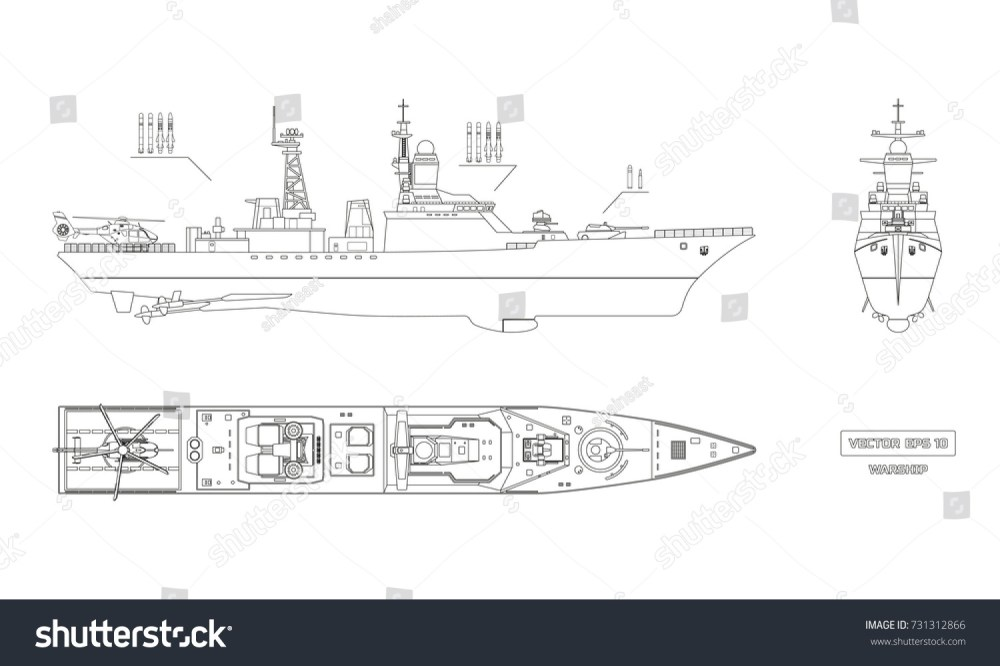 medium resolution of blueprint of military ship top front and side view battleship model industrial