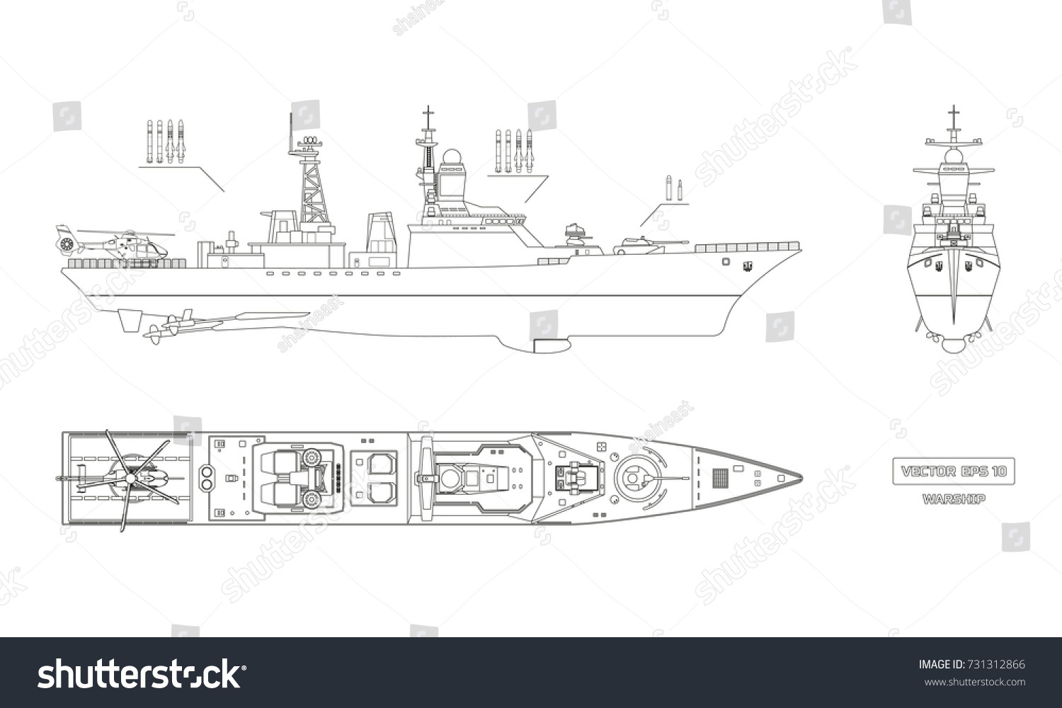 hight resolution of blueprint of military ship top front and side view battleship model industrial