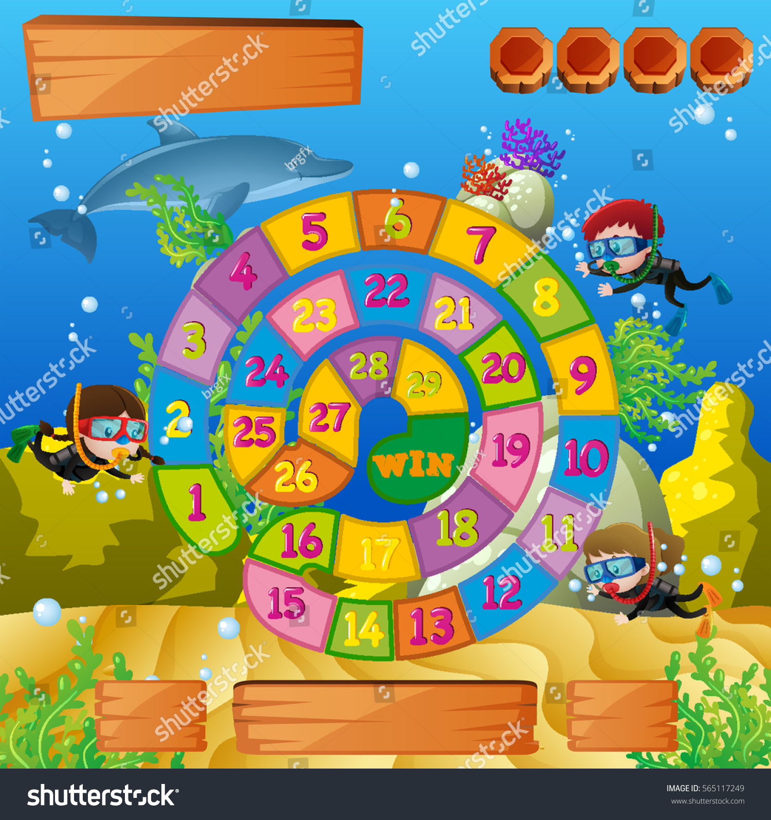 Boardgame Template Kids Diving Under Sea Stock Vector