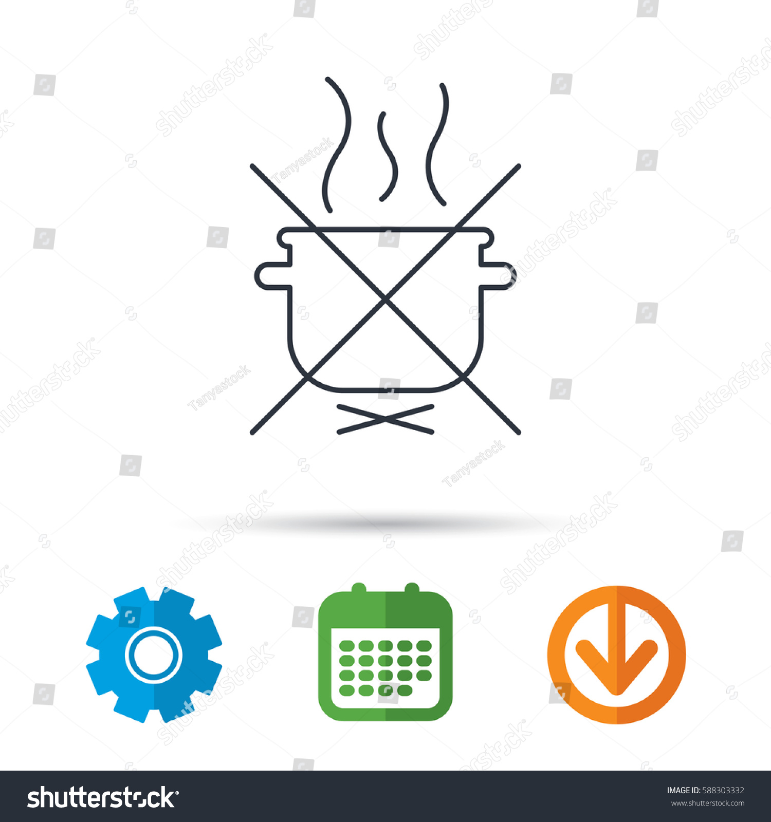 hight resolution of boiling saucepan icon do not boil water sign cooking manual attenction symbol calendar