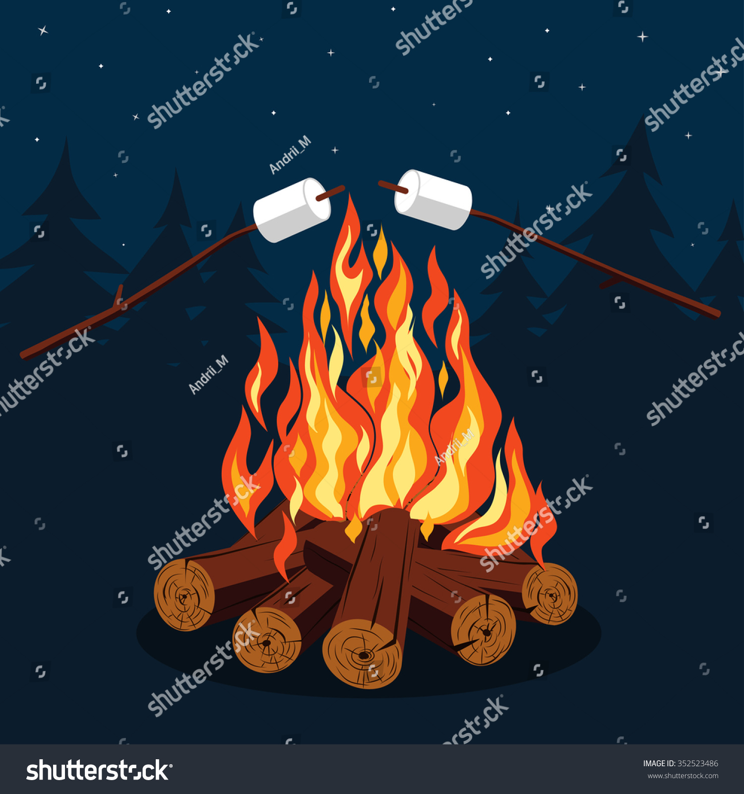 Bonfire With Marshmallow - Camping, Burning Woodpile. Vector Picture - 352523486 : Shutterstock