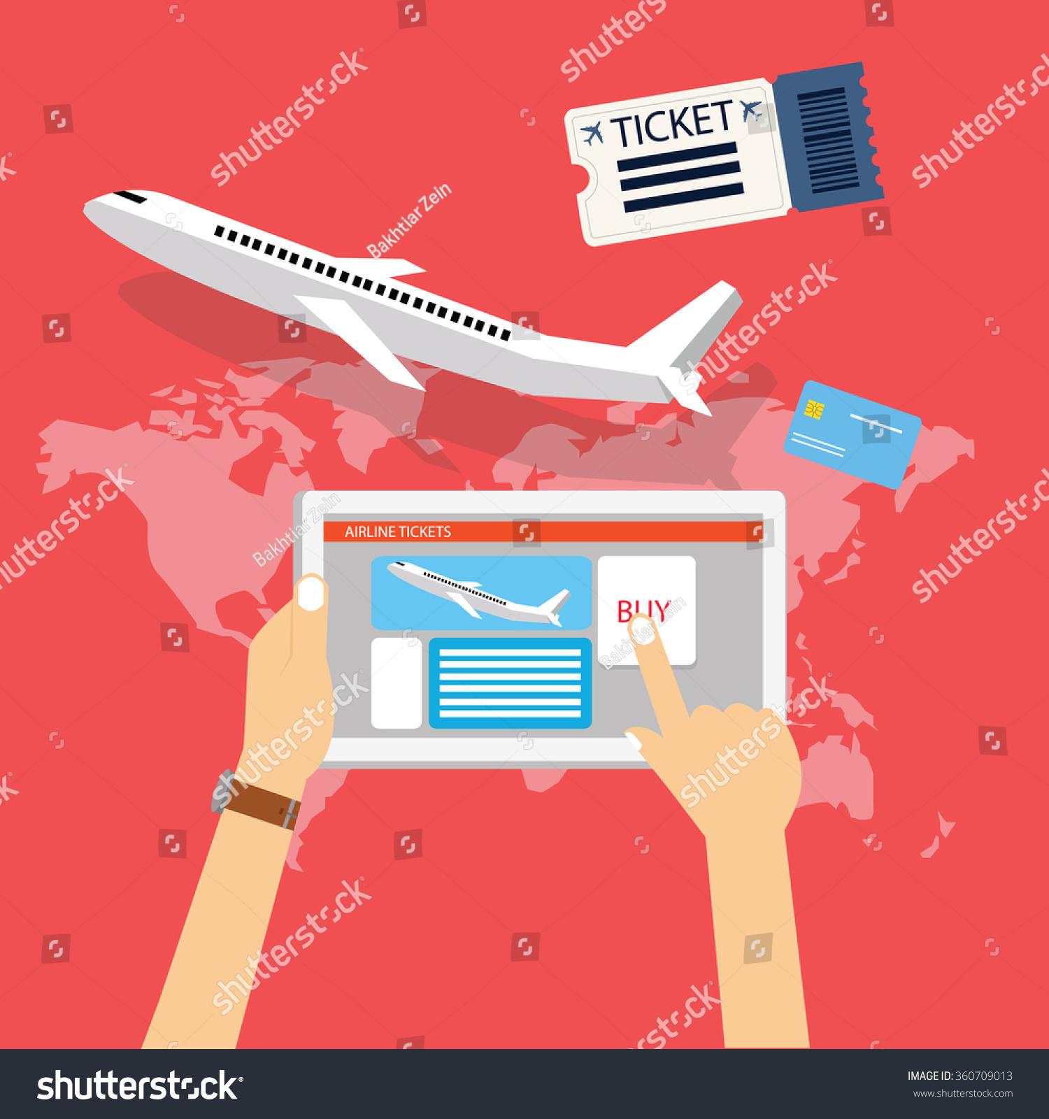 Book Buy Plane Flight Ticket Online Stock Vector 360709013 - Shutterstock