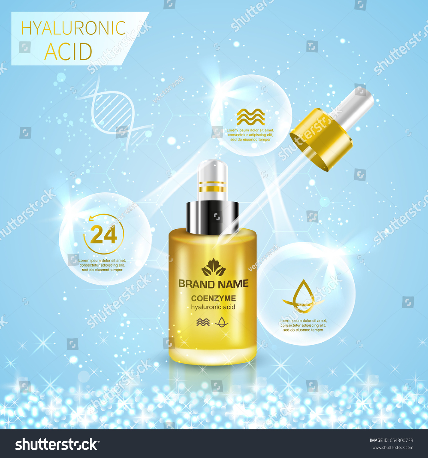 hight resolution of bottle with hyaluronic acid advertising template abstract infographics diagram