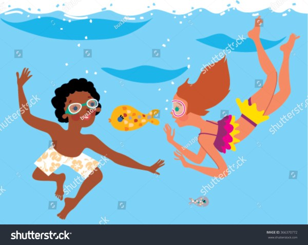 Boy And Girl Swimming Under Water Fish