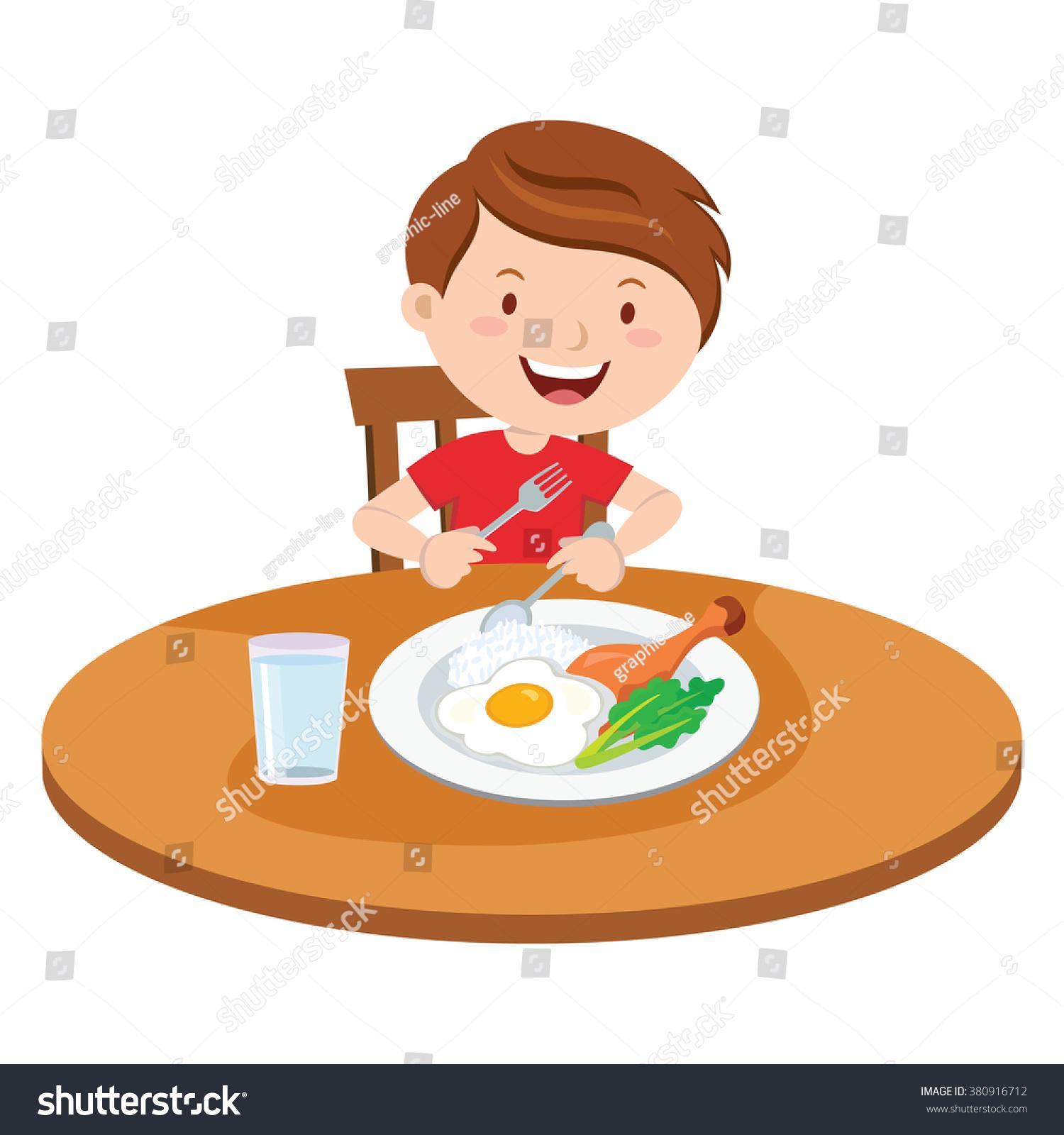 Boy Eating Meal Vector Illustration Little Stock Vector