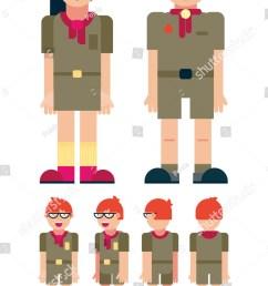 boy scout cartoon set full length different views clip art vector illustration  [ 1016 x 1600 Pixel ]