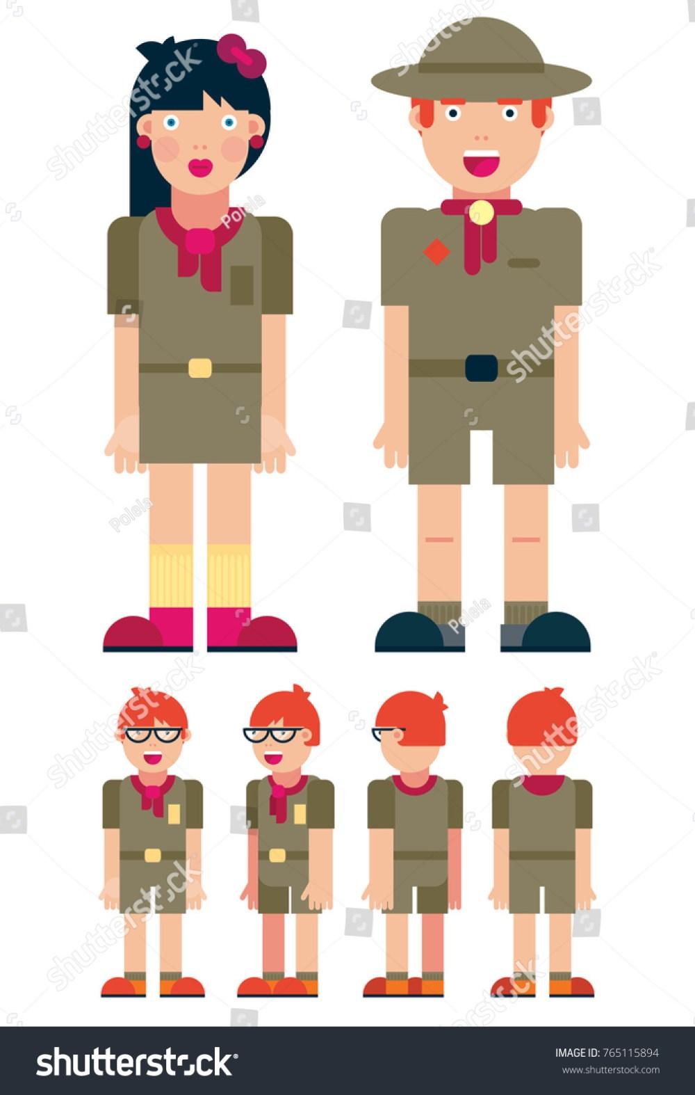 medium resolution of boy scout cartoon set full length different views clip art vector illustration