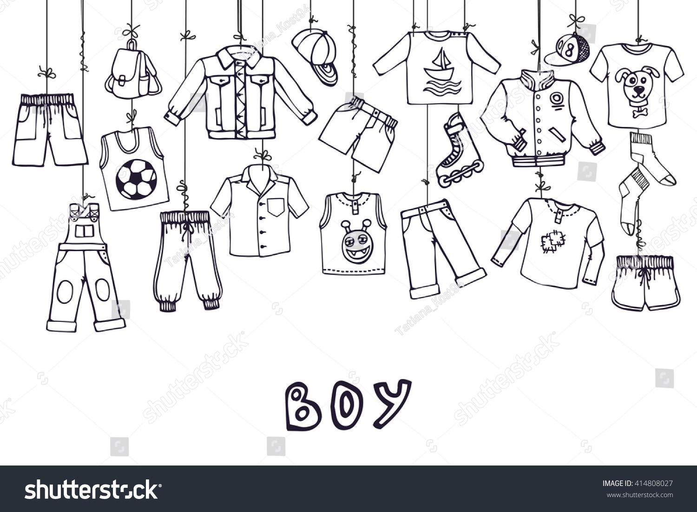 Boy Summer Fashion Hanging On Ropebabyteenage Stock Vector