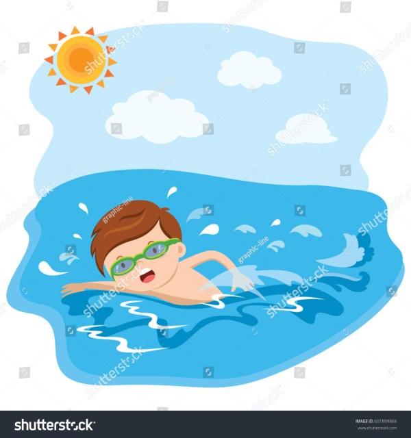 Boy Swimming Stock Vector 601899866 - Shutterstock