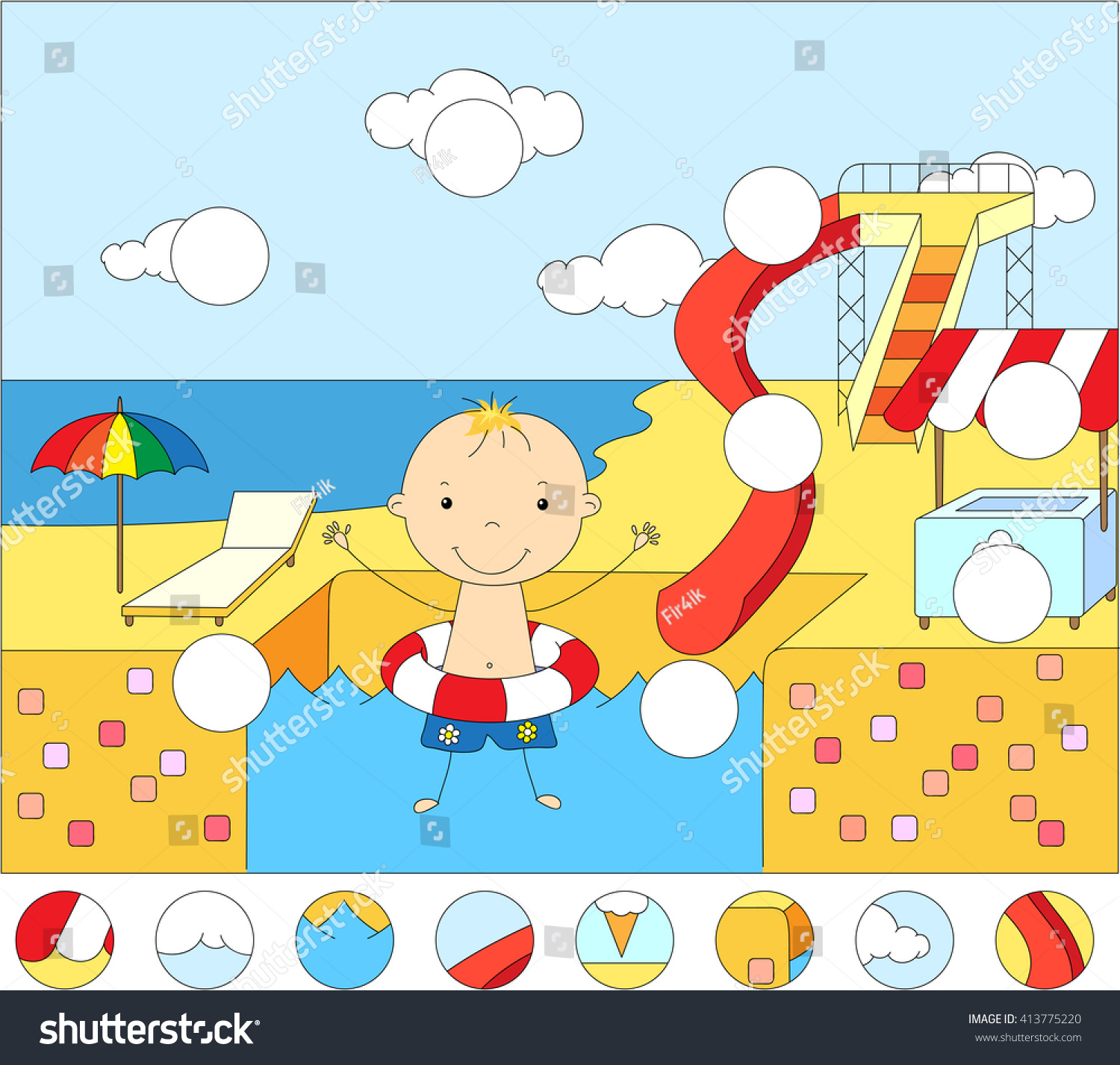 Boy Rubber Ring Water Park Swimming Stock Vector