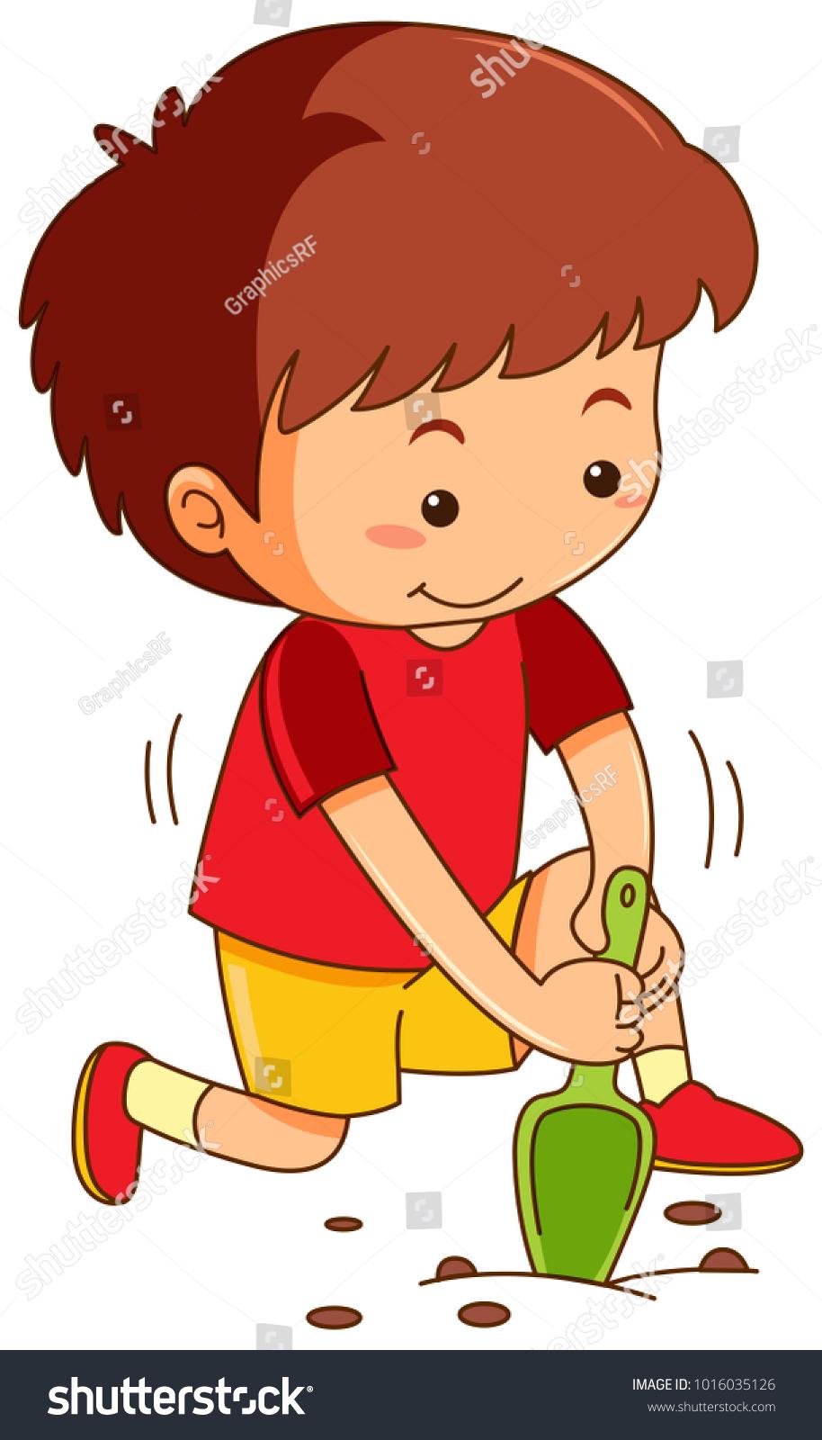 medium resolution of boy with garden spoon digging hole illustration