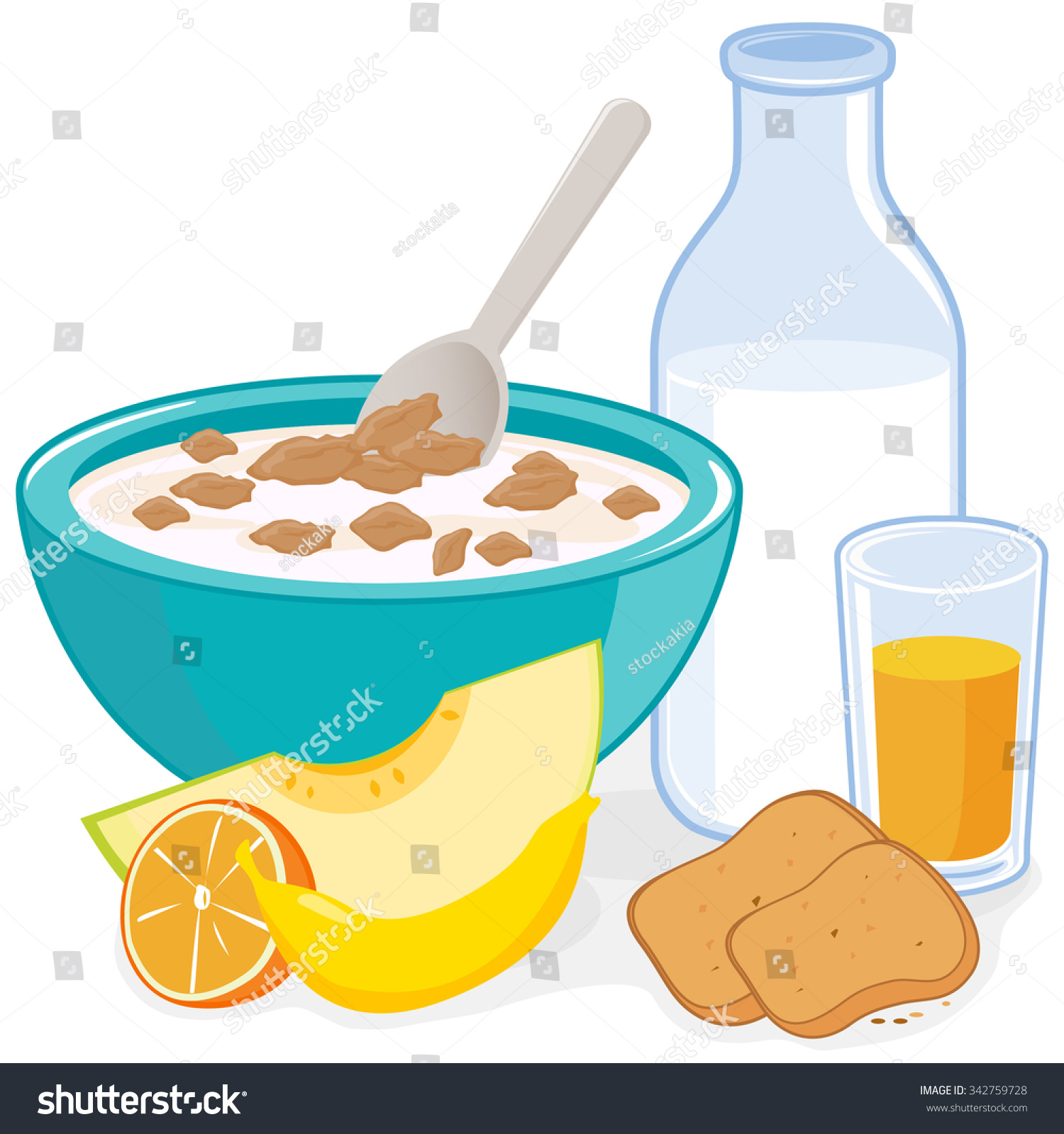 hight resolution of a bowl of cereal bottle of milk juice toast and fruits