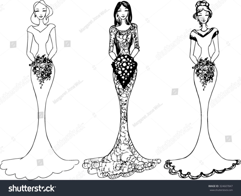 hight resolution of bride wedding clipart vector illustration