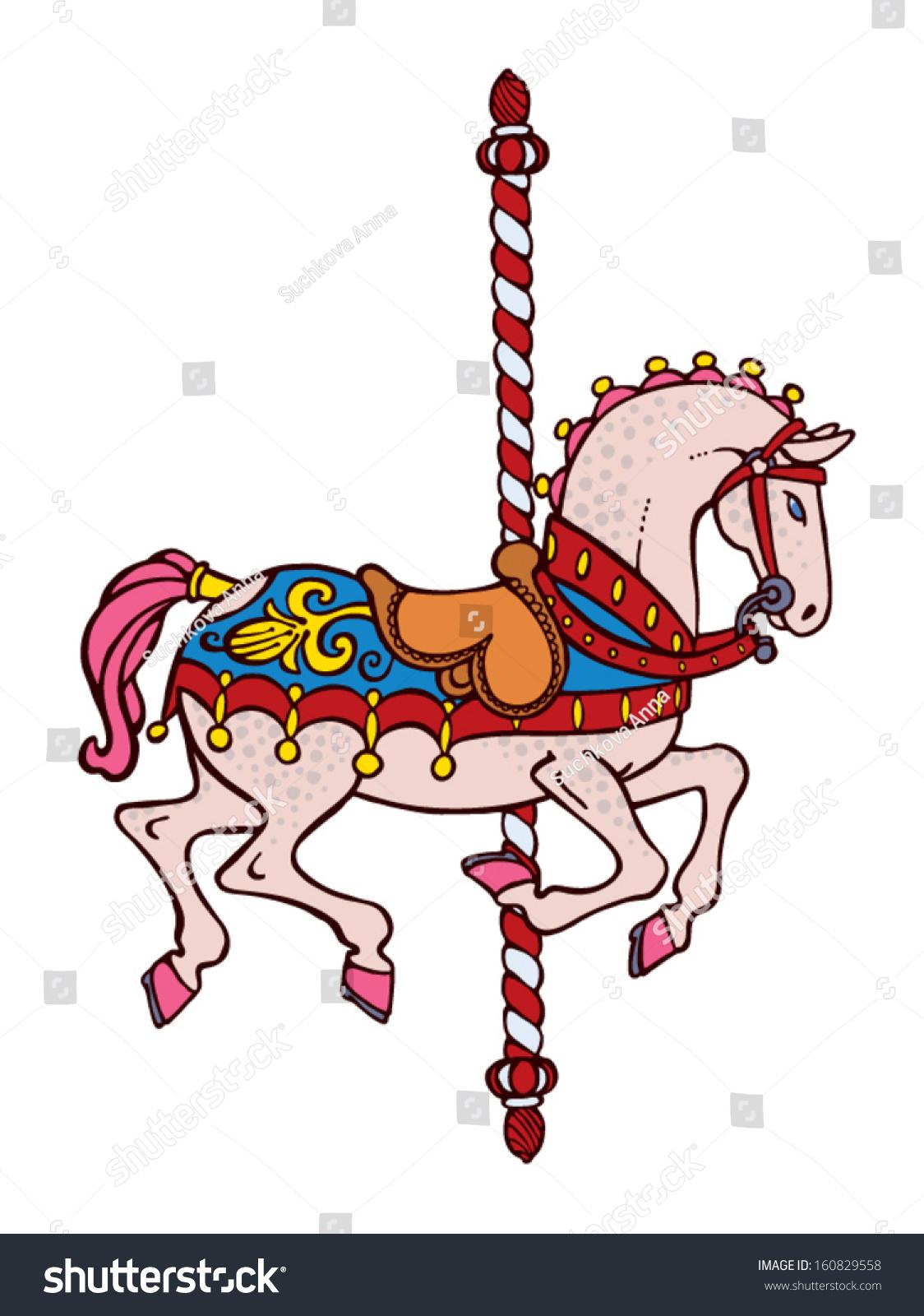 Bright Elegant Smart Carousel Horse Vector - 160829558 : Shutterstock