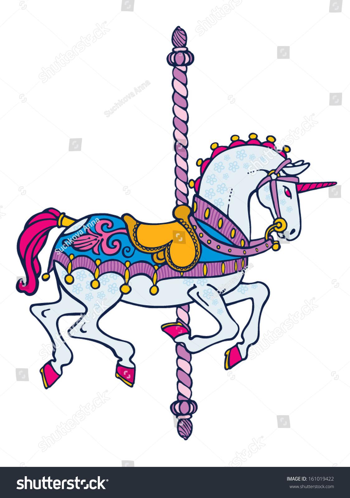 Bright Elegant Smart Carousel Unicorn Vector - 161019422 : Shutterstock