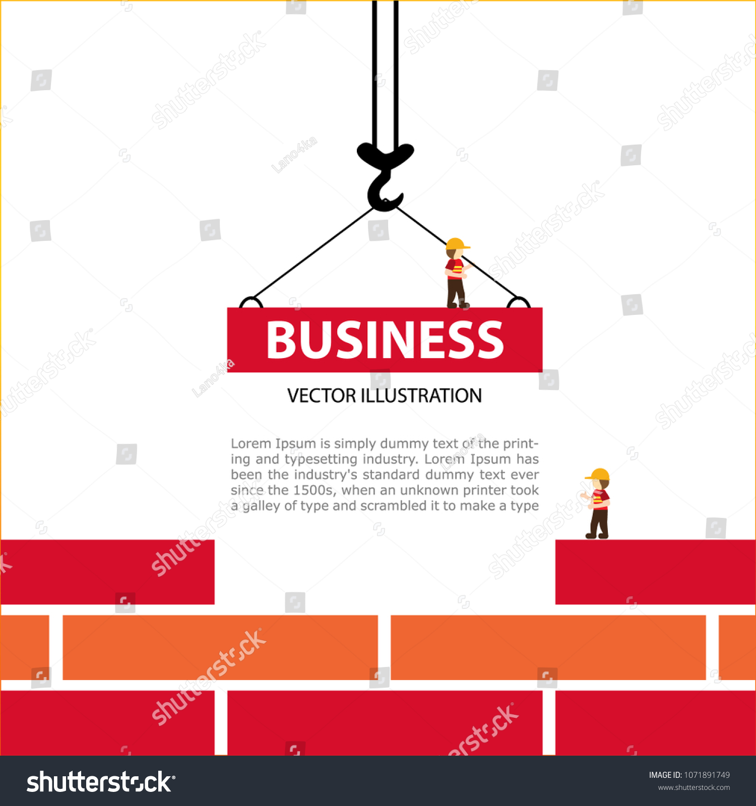 hight resolution of the crane hook lowers down the red brick blocks template construction sites or other projects blank space for text