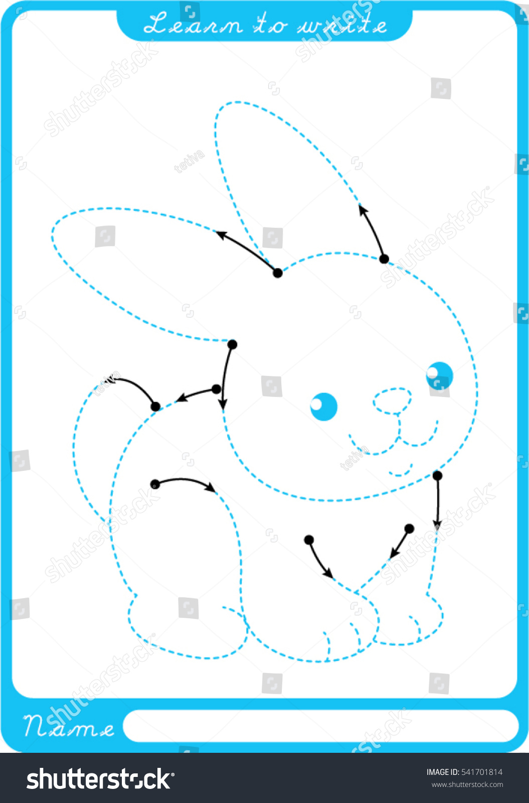Bunny Preschool Worksheet Practicing Fine Motor Stock