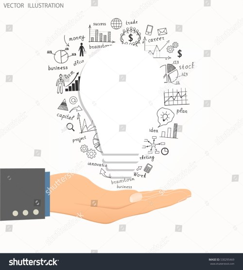 small resolution of business concept light bulb with drawing business success strategy plan idea hand holding business