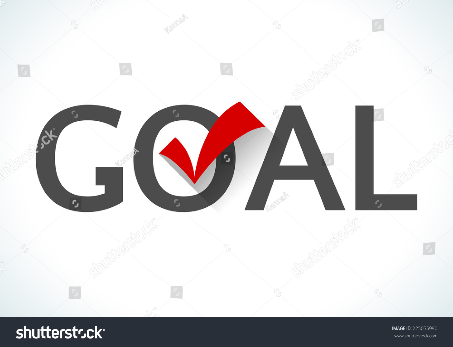 Business Goal Concept. Goal Icon With Red Check Mark On White Background. Design Ideas Achieve Execute Goals And Objectives. Stock Vector ...