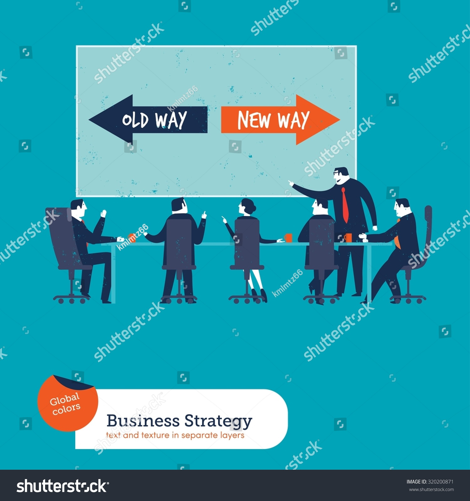 hight resolution of business meeting with chart old way new way vector illustration eps10 file global colors