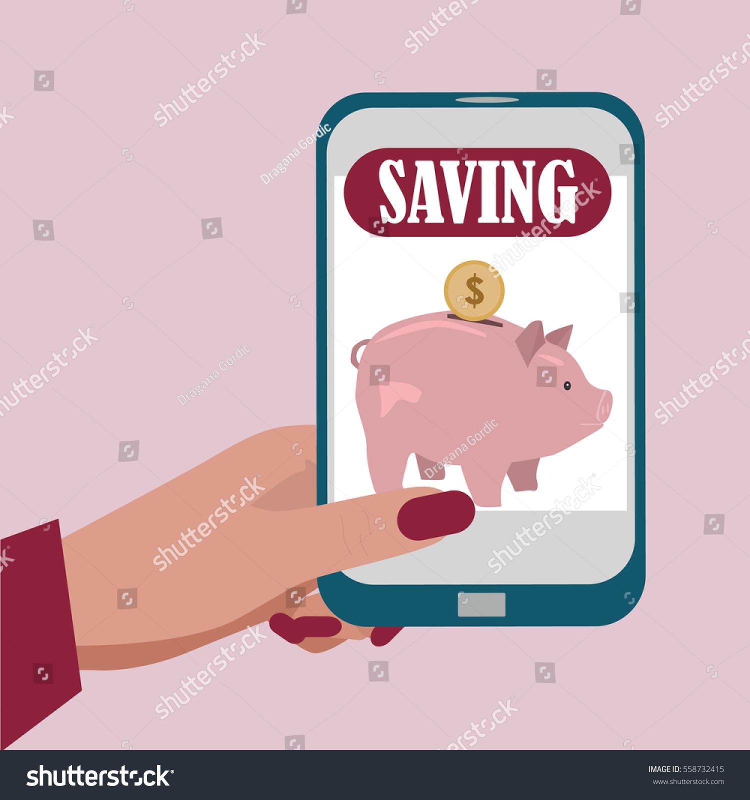 Business Woman Saving Money Piggy Bank Stock Vector Royalty Free 558732415