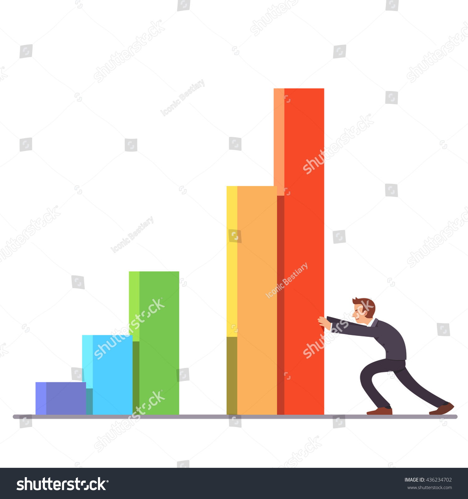 hight resolution of businessman moving colorful bar graph columns achieving business sales growth flat style vector illustration clipart