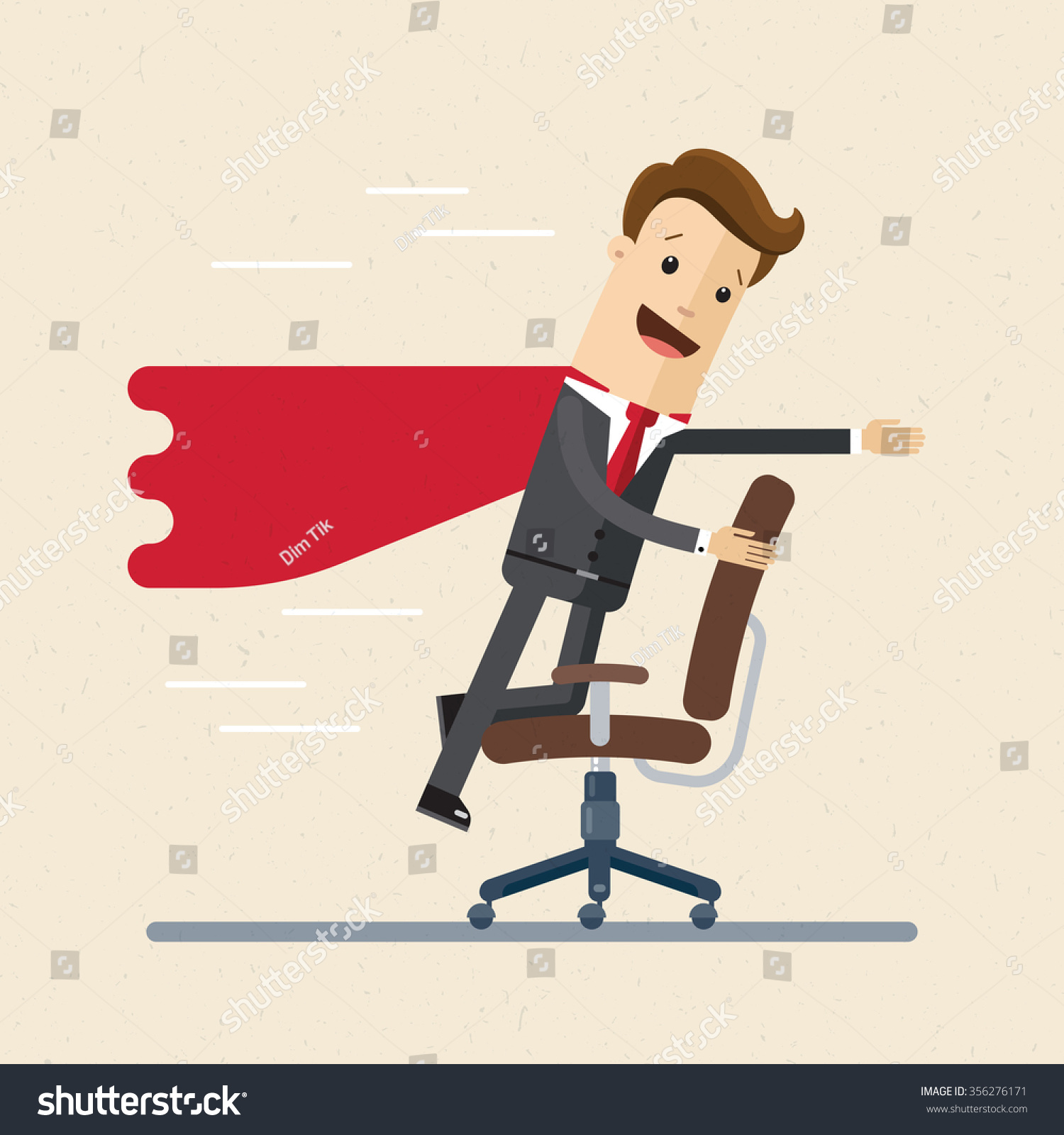 office chair illustration patio chairs for fire pit businessman manager like superman on stock vector