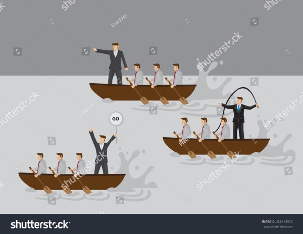 Businessmen Boat Rowing Competition Leaders Stock