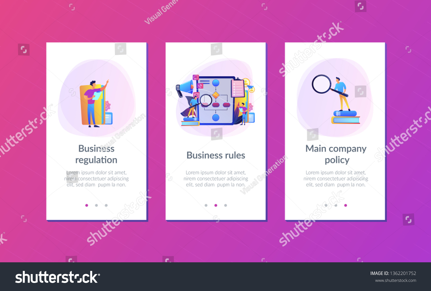hight resolution of businessmen with magnifier looking at business process flow chart business rules and regulation main