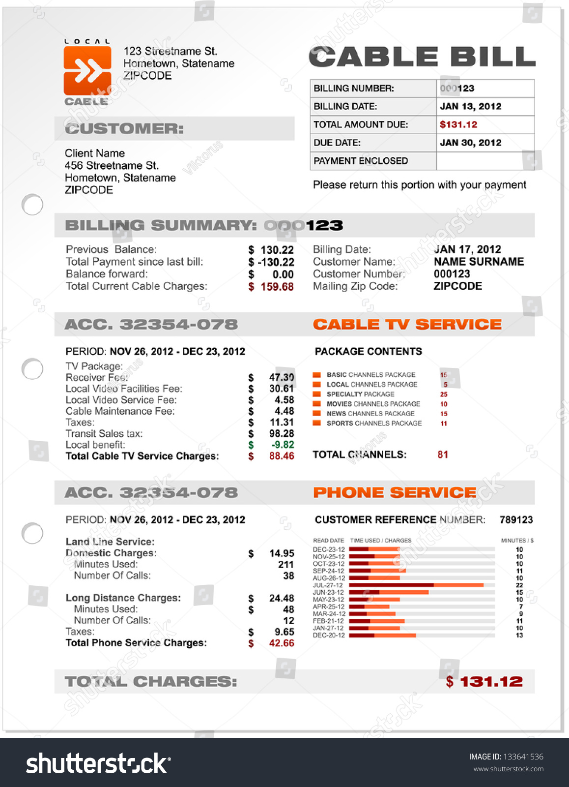 Cable Service Phone Bill Document Sample Document