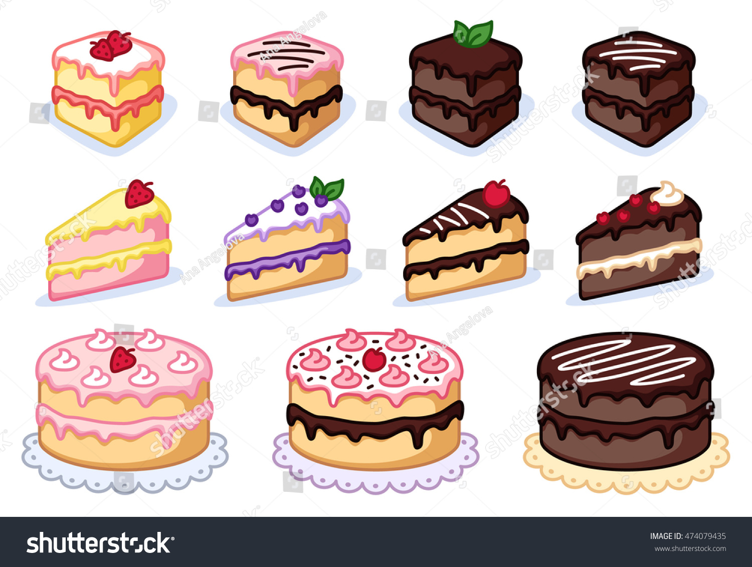 Cake Clipart Set Colorful Cakes Vector Stock Vector