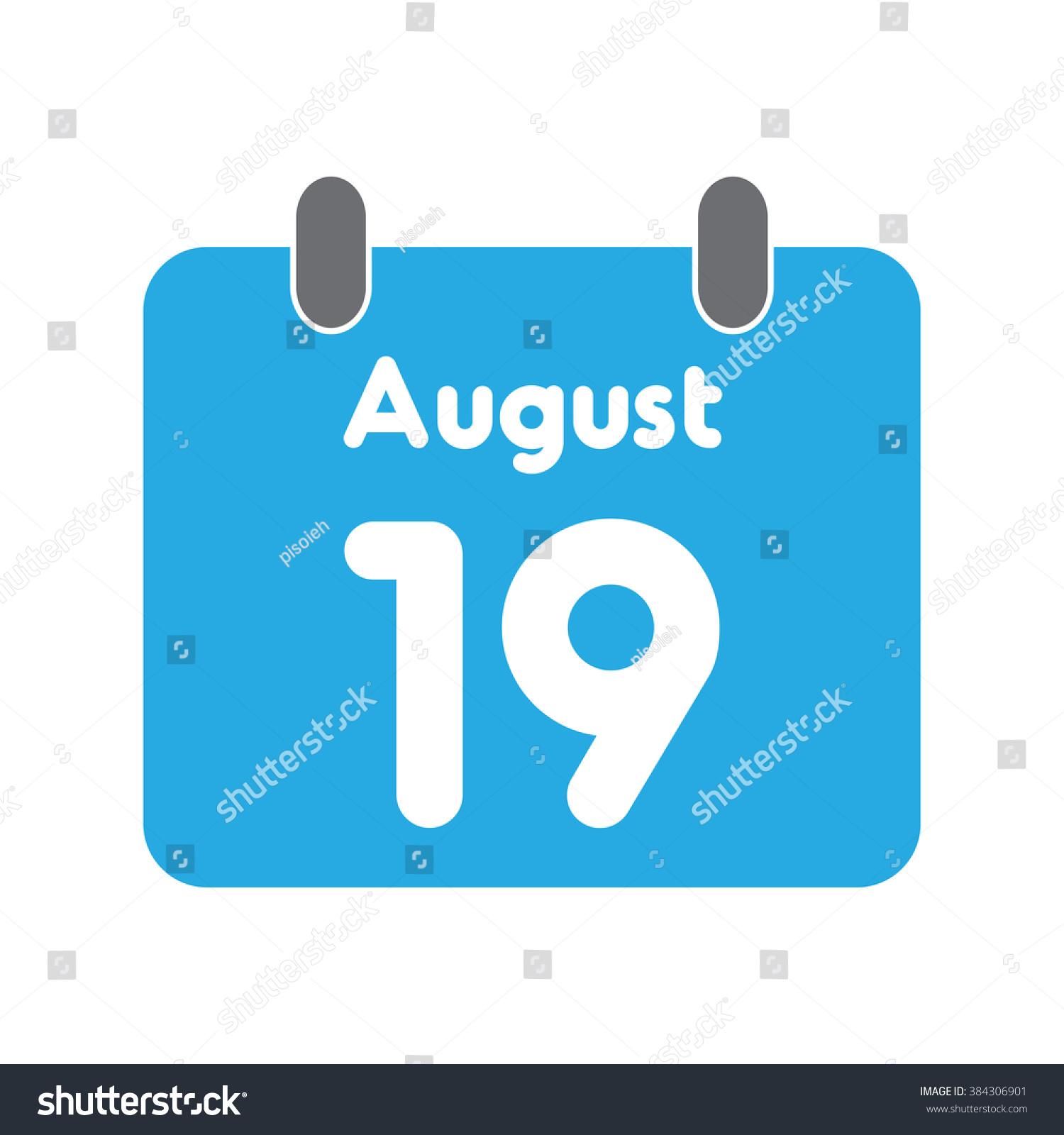 Calendar Icon Flat August 19 Stock Vector 384306901