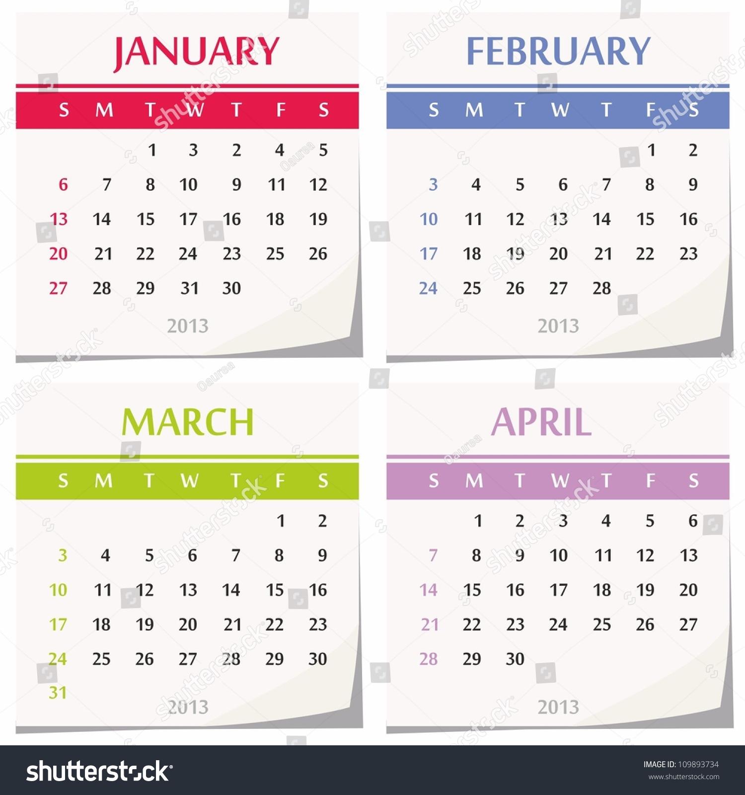Calendar Set Four Months January Stock Vector