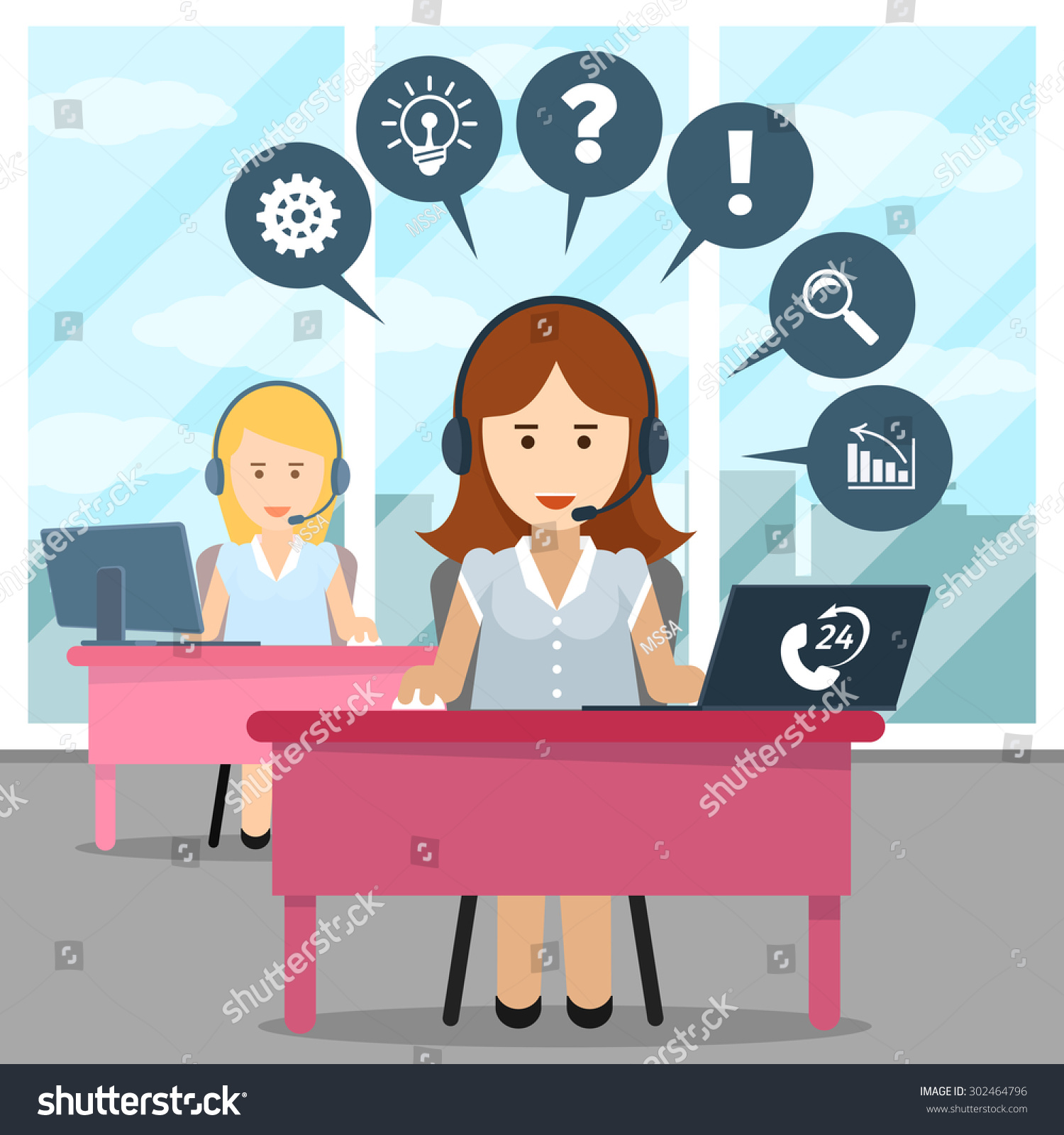 Call Center Operator Help And Headset Office And