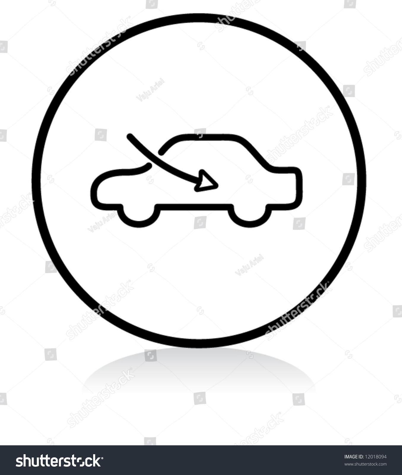 hight resolution of car airflow button symbol b w version