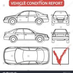 Car Damage Inspection Diagram Automobile Wiring Symbols Condition Form Vehicle Checklist Auto Stock Vector