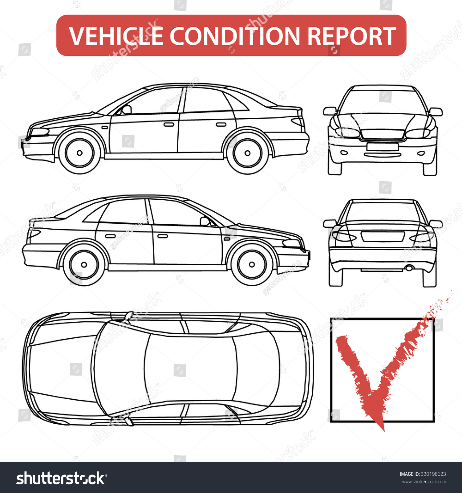 commuter van damage inspection diagram telephone punch down block wiring car condition form vehicle checklist auto stock vector
