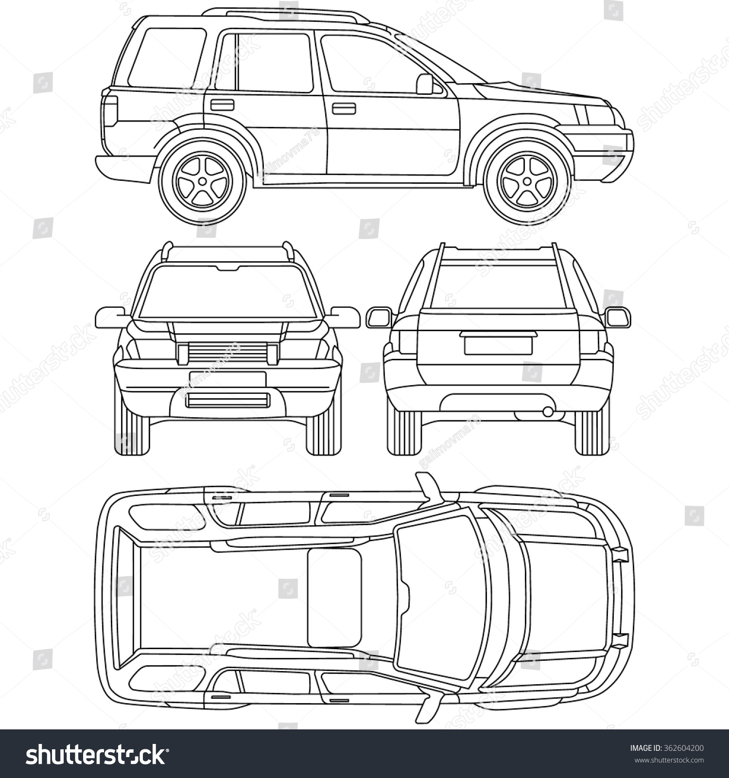 Car Offroad Line Draw Insurance Rent Stock Vector