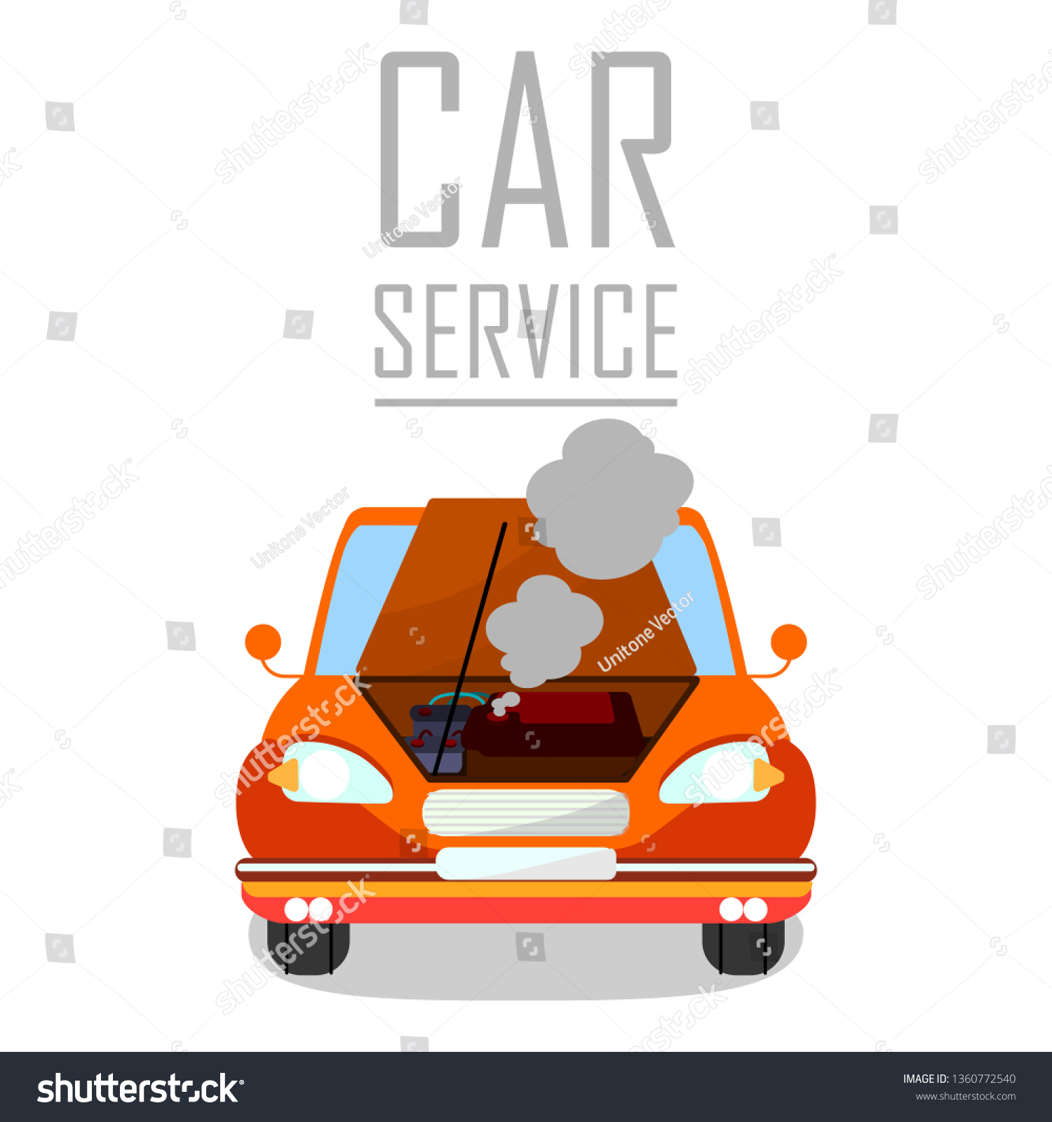hight resolution of car service for overheated engine banner template cartoon automobile with open bonnet hood steaming motor flat vector illustration vehicle breakdown
