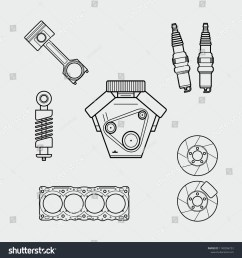 car spare parts outline engine piston shock absorber spark plugs block of cylinders brake disc vector eps10 [ 1500 x 1600 Pixel ]