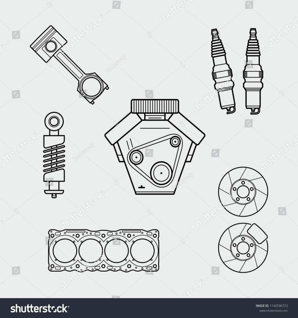 medium resolution of car spare parts outline engine piston shock absorber spark plugs block of cylinders brake disc vector eps10