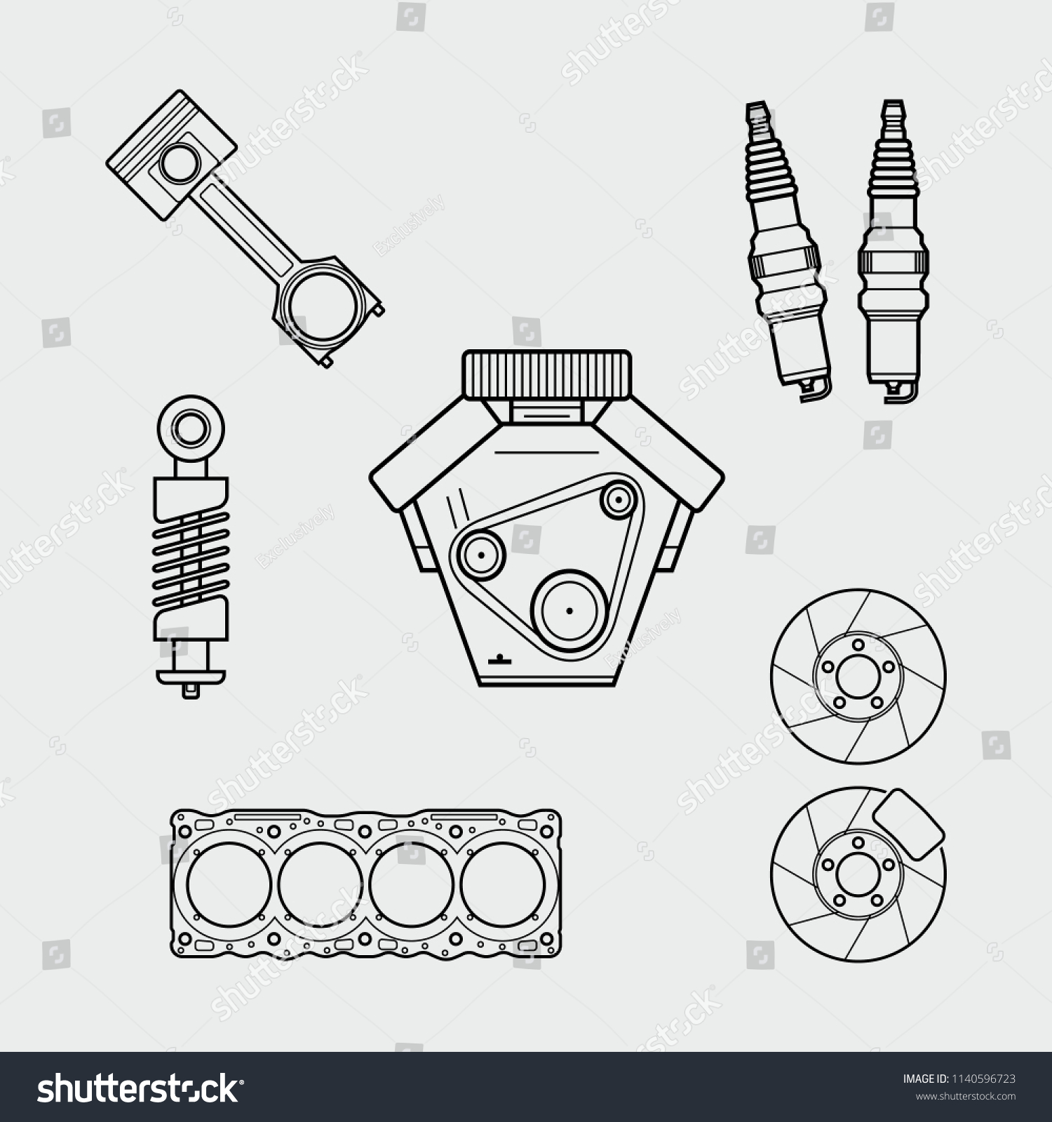 hight resolution of car spare parts outline engine piston shock absorber spark plugs block of cylinders brake disc vector eps10