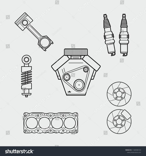 small resolution of car spare parts outline engine piston shock absorber spark plugs block of cylinders brake disc vector eps10