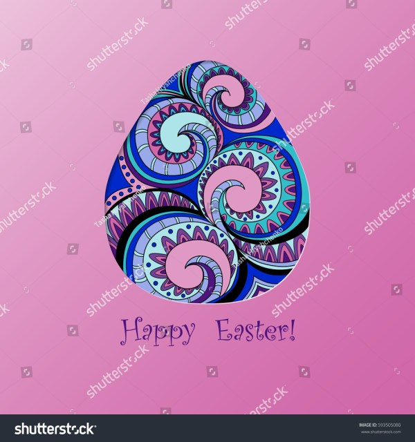 Card Easter Filigree Graphic Color Egg Stock Vector