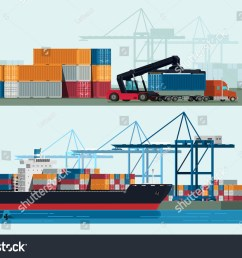 cargo logistics truck and transportation container ship with working crane import export transport industry illustration  [ 1500 x 1101 Pixel ]